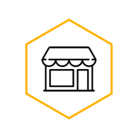 A black line drawing of a small-town business in a yellow hexagon
