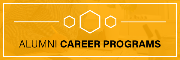 A yellow box with three hexagons, one larger flanked by two smaller ones, with the words Alumni Career Programs