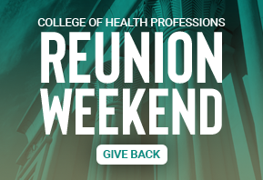 Teal background image promoting giving opportunity for VCU College of Health Professions