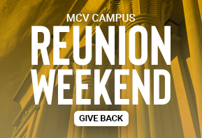 Gold background image promoting giving opportunity for MCV campus Reunion