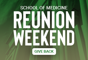 Green background image promoting giving opportunity for VCU School of Medicine