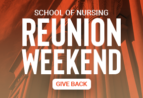 Orange background image promoting giving opportunity for VCU School of Nursing