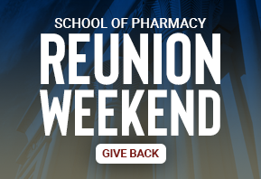 Navy background image promoting giving opportunity for VCU School of Pharmacy